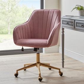 Connie Pleated Velvet Office Chair