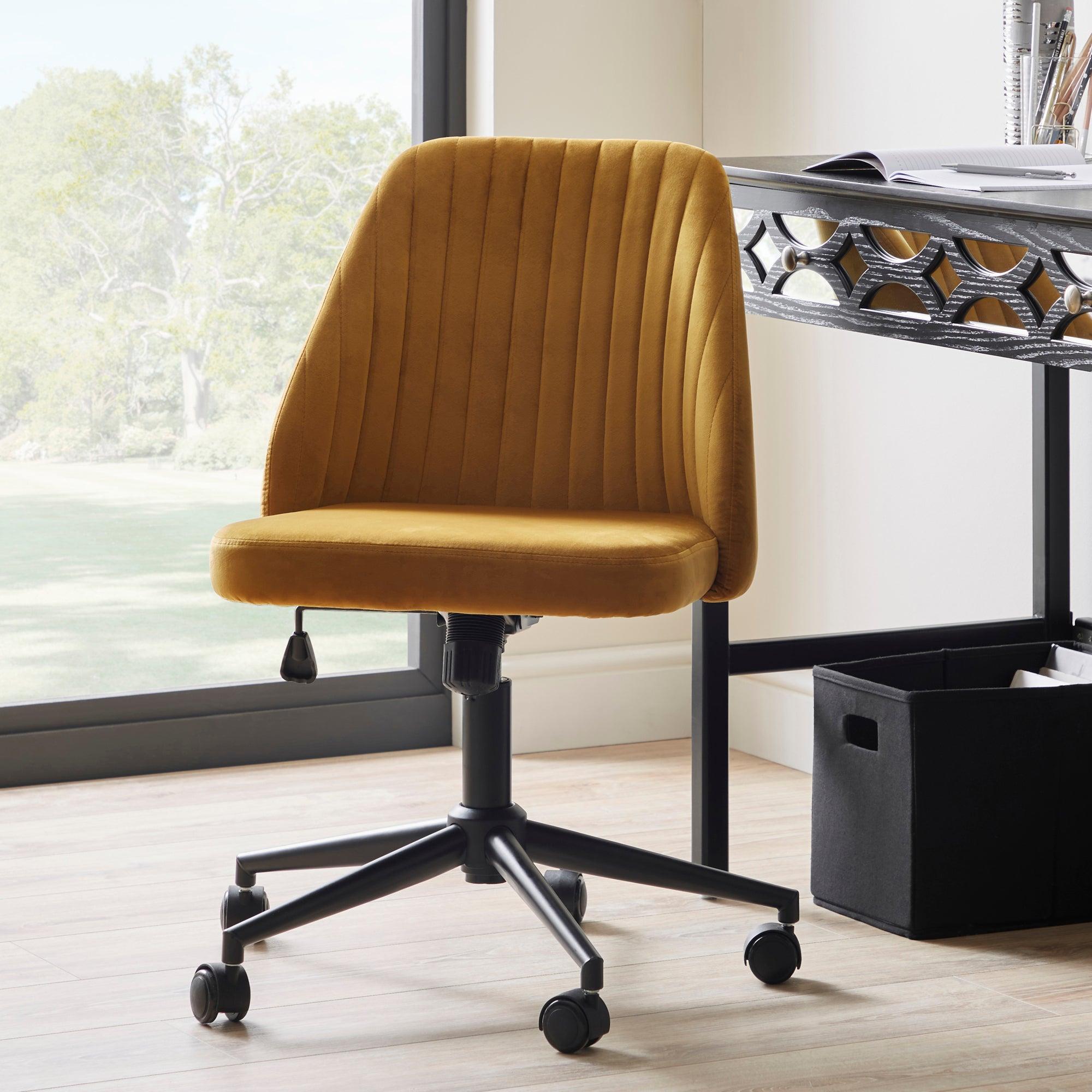 Mya Velvet Office Chair Gold