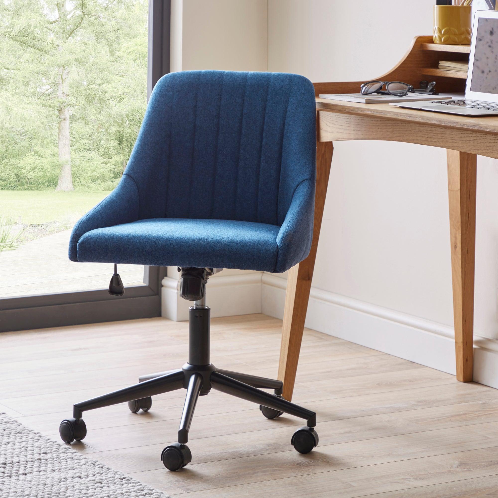 Kenton Herringbone Office Chair Navy Blue