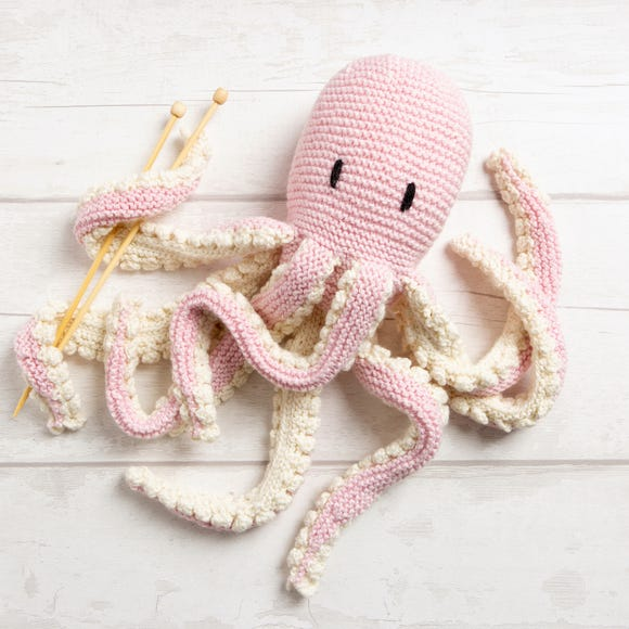 Wool Couture Robyn Octopus Baby Pink Knitting Kit Baby Pink