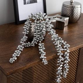 Artificial String of Pearls in Silver Ceramic Pot
