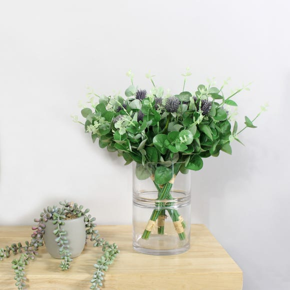 Pack of 4 Lilac Thistle and Eucalyptus Bundles Green