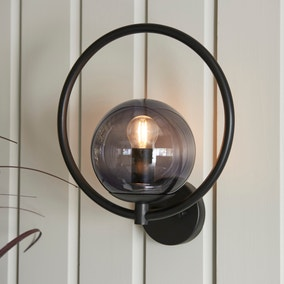 Fort Halo Black Smoked Glass Outdoor Wall Light