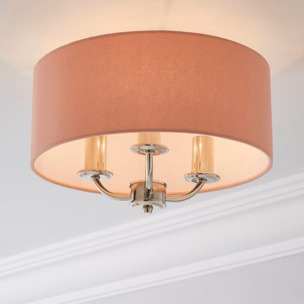 Preston Antique Brass Blush Pink Flush Ceiling Fitting Blush (Pink)