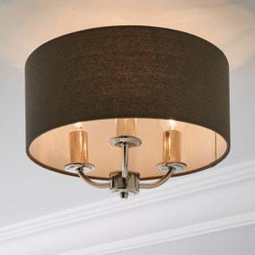 Preston Nickel Charcoal Flush Ceiling Fitting