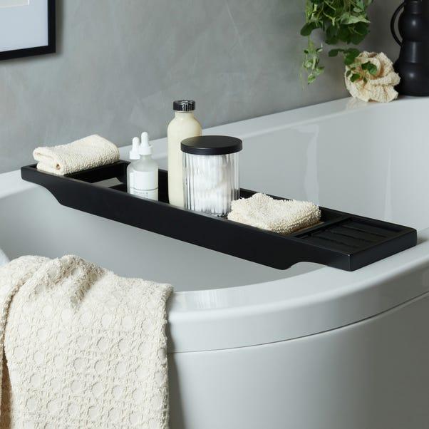 Black Bamboo Bath Rack