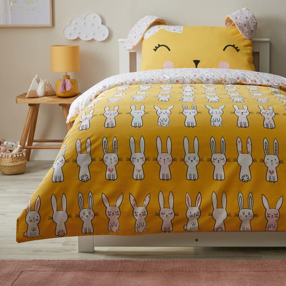 Floral Bunny Yellow Reversible Duvet Cover and Pillowcase Set  undefined