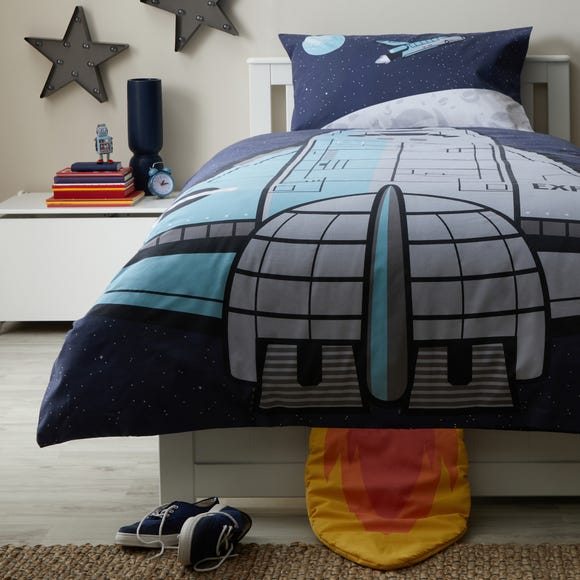 Space Shuttle Navy Reversible Duvet Cover and Pillowcase Set  undefined