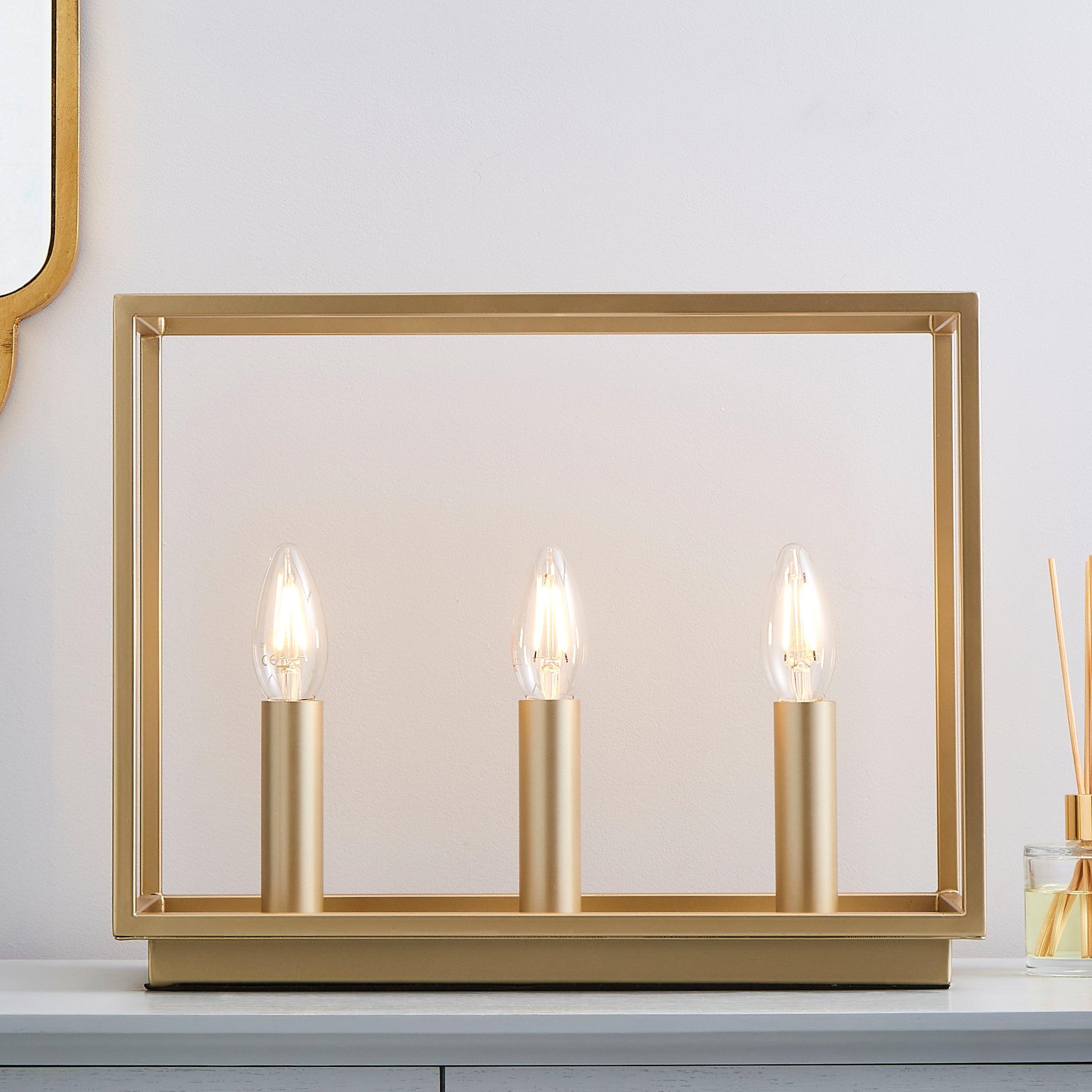 Madrid 3 Light Table Lamp Gold