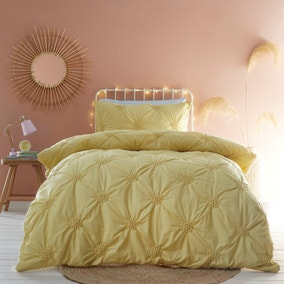 Ruched Spot Yellow Duvet Cover and Pillowcase Set