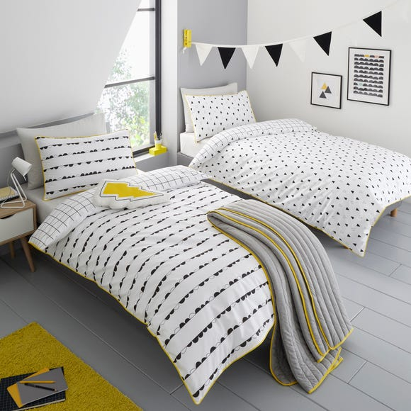 Monochrome 100% Cotton Reversible Duvet Cover and Pillowcase Set Twin Pack  undefined