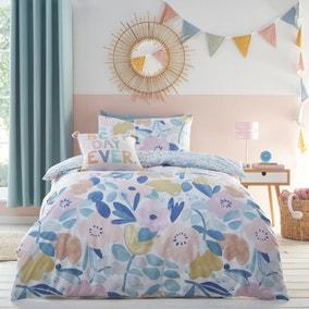 Naive Floral Blue 100% Cotton Reversible Duvet Cover and Pillowcase Set
