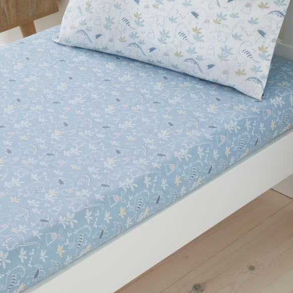 Set of 2 Doodle Dino Blue 100% Cotton Fitted Sheets  undefined