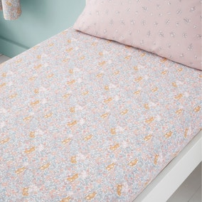 Set of 2 Ditsy Bunny Pink 100% Cotton Fitted Sheets