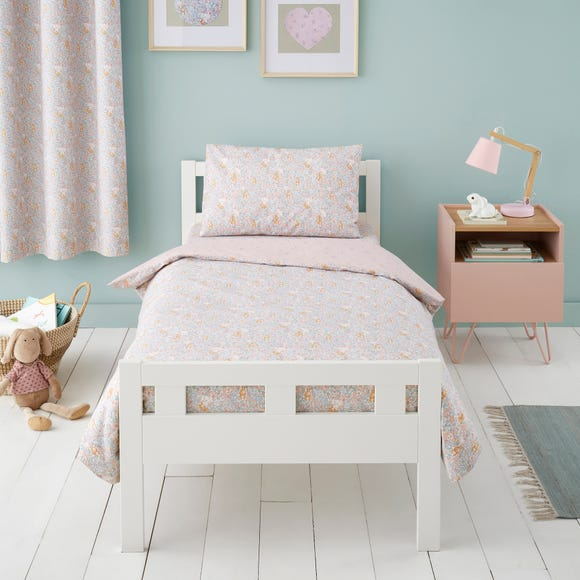 Ditsy Bunny Pink 100% Cotton Reversible Cot Bed Duvet Cover and Pillowcase Set Light Pink undefined