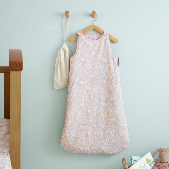 Ditsy Bunny Pink 100% Cotton 2.5 Tog Sleep Bag  undefined