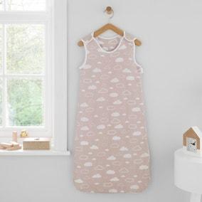 Jersey Clouds Pink 100% Cotton 2.5 Tog Sleep Bag