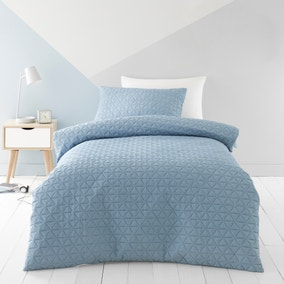 Coral Geo Pinsonic Quilted Duvet Cover and Pillowcase Set