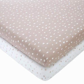 Set of 2 Spotted 100% Cotton Jersey Fitted Sheets