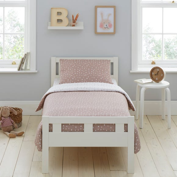 Pink Spotted 100% Jersey Cotton Reversible Cot Bed Duvet Cover and Pillowcase Set