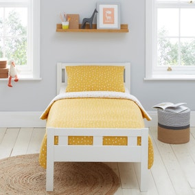Mustard Spotted 100% Jersey Cotton Reversible Cot Bed Duvet Cover and Pillowcase Set