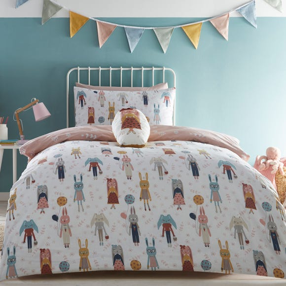 Fashion Bunnies Pink 100% Cotton Reversible Duvet Cover and Pillowcase Set  undefined