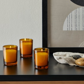 Amber Set of 3 Votive Candles