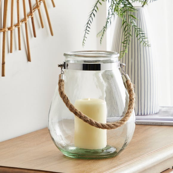 Glass Candle Lantern with Rope Clear