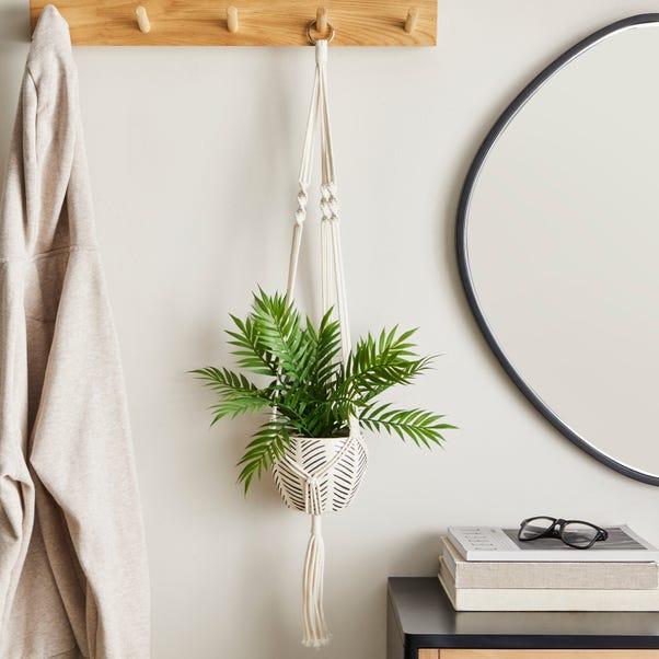 Hanging Ceramic Pot with Macrame Grey