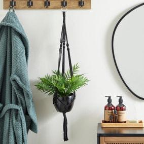 Black Hanging Ceramic Pot with Macrame