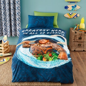 Disney Moana Maui 100% Cotton Reversible Duvet Cover and Pillowcase Set