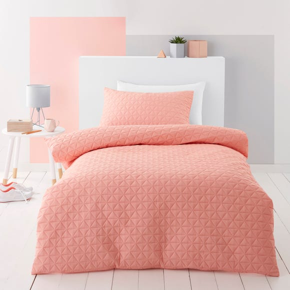 Coral Geo Pinsonic Quilted Duvet Cover and Pillowcase Set  undefined