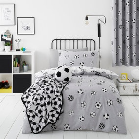 Football Grey and White Reversible Duvet Cover and Pillowcase Set