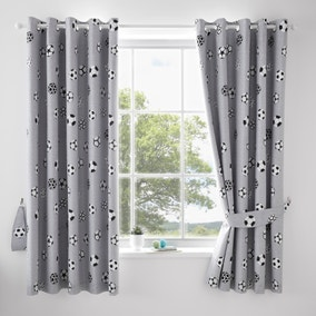 Football Grey and White Blackout Eyelet Curtains