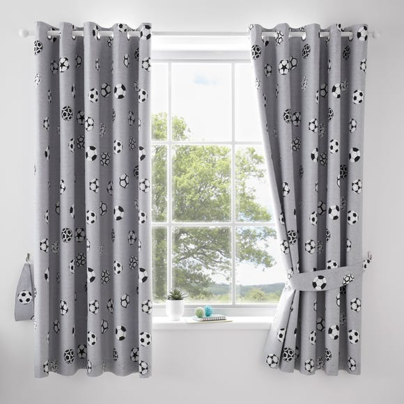 Football Grey and White Blackout Eyelet Curtains  undefined