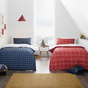Twin Pack Checked 100% Cotton Reversible Duvet Cover and Pillowcase Set