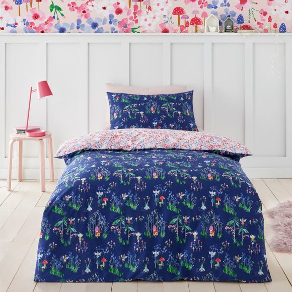 Fairies Blue and Pink 100% Cotton Reversible Duvet Cover and Pillowcase Set  undefined