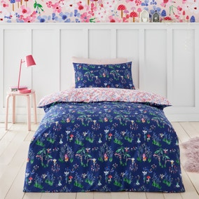 Fairies Blue and Pink 100% Cotton Reversible Duvet Cover and Pillowcase Set