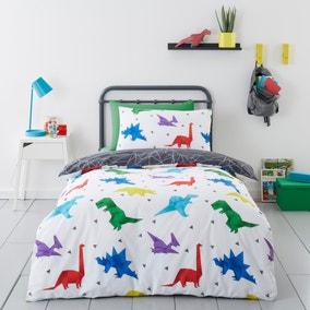 Origami Dino 100% Cotton Reversible Duvet Cover and Pillowcase Set