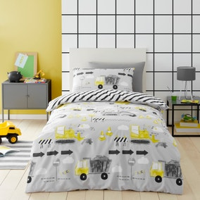 Construction Grey 100% Cotton Reversible Duvet Cover and Pillowcase Set