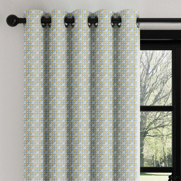 Mini Abstract Geo Teal Eyelet Curtains  undefined