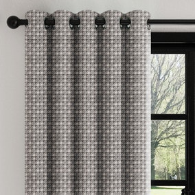Mini Abstract Geo Charcoal Eyelet Curtains