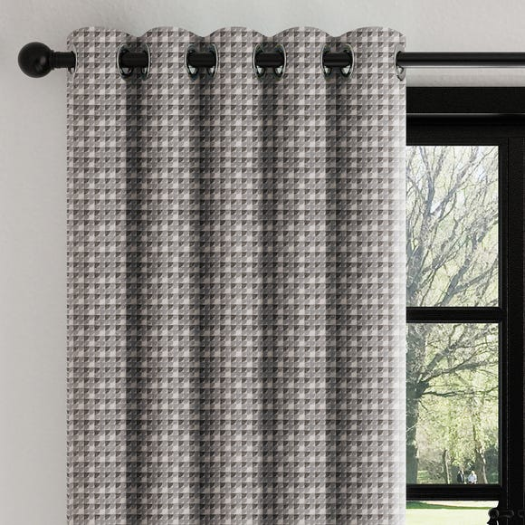 Mini Abstract Geo Charcoal Eyelet Curtains  undefined