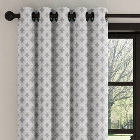 Crosby Charcoal Geometric Eyelet Curtains