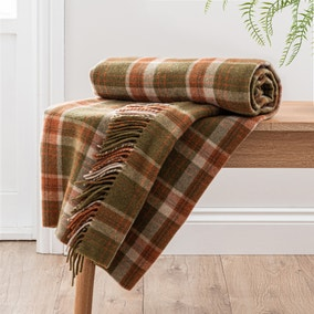 Checked Tweed Green Throw