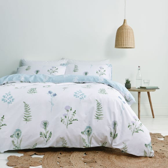 Bianca Meadow Flowers White 100% Egyptian Cotton Duvet Cover and Pillowcase Set  undefined