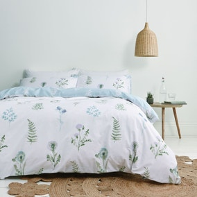 Bianca Meadow Flowers White 100% Egyptian Cotton Duvet Cover and Pillowcase Set