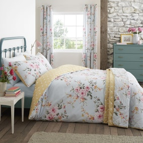 Catherine Lansfield Canterbury Duck Egg Floral Duvet Cover and Pillowcase Set