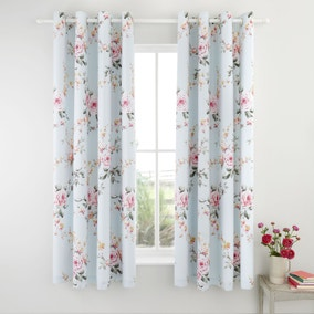 Catherine Lansfield Canterbury Duck Egg Eyelet Curtains