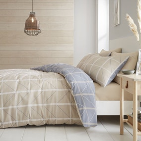 Catherine Lansfield Geometric Grid Natural Reversible Duvet Cover and Pillowcase Set